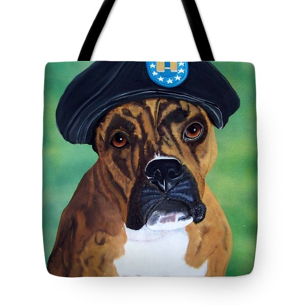 Military Boxer Tote Bag by Debbie LaFrance