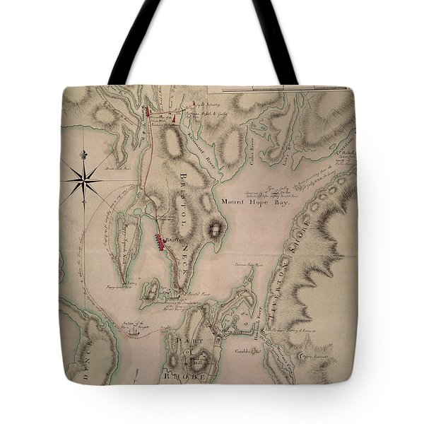 Military Plan Of The North Part Of Rhode Island Tote Bag by English School