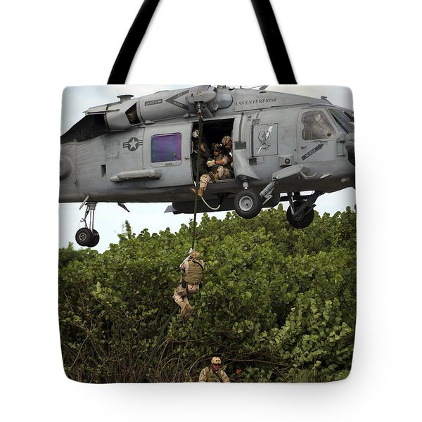 Military Reserve Navy Seals Demonstrate Tote Bag