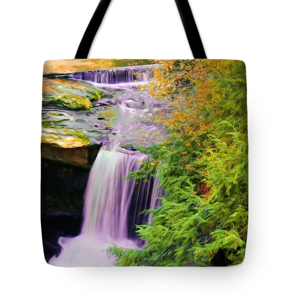 Tote Bag featuring the painting Mill Creek Waterfall by Michelle Joseph-Long