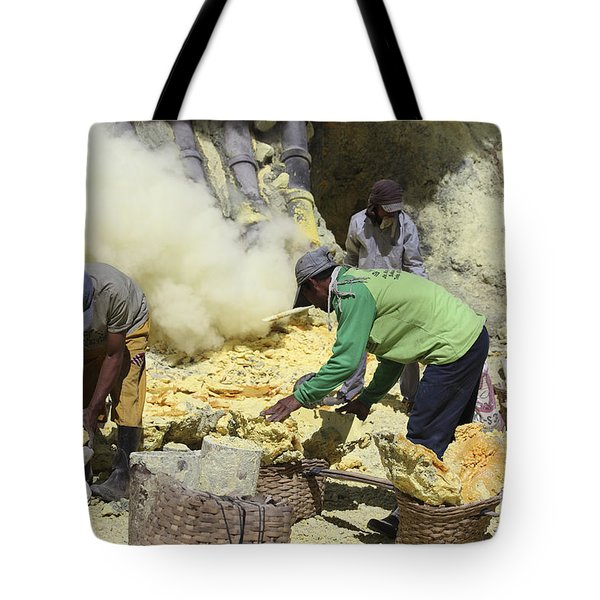 Miners Collecting Lumps Of Sulphur Tote Bag by Richard Roscoe