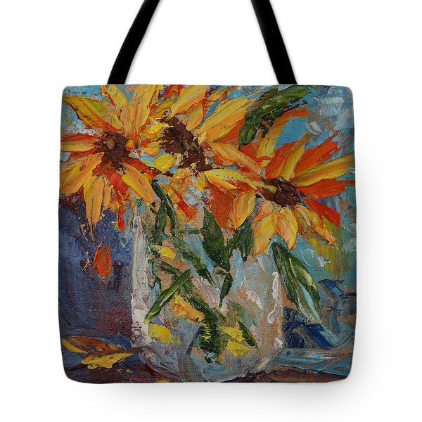 Mini Sunflowers In A Mason Jar Tote Bag