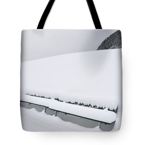 Minimalist Winter Landscape With Lots Of Snow Tote Bag by Matthias Hauser