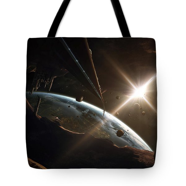 Mining Colony On An Asteroid Tote Bag by Tobias Roetsch