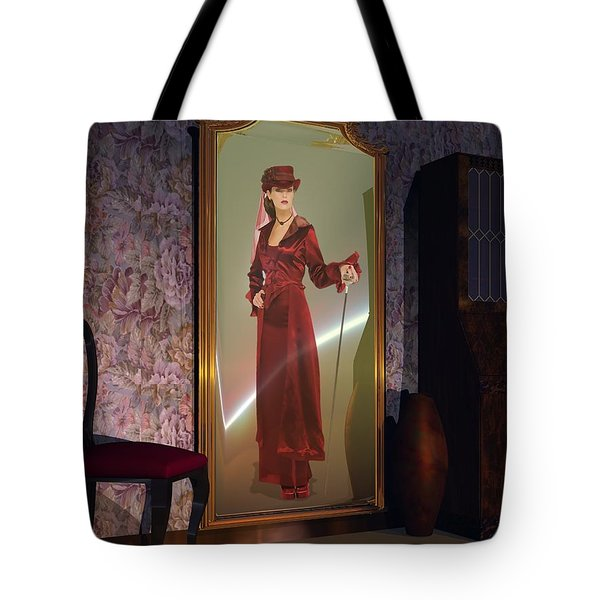 Tote Bag featuring the digital art Mirror by John Pangia