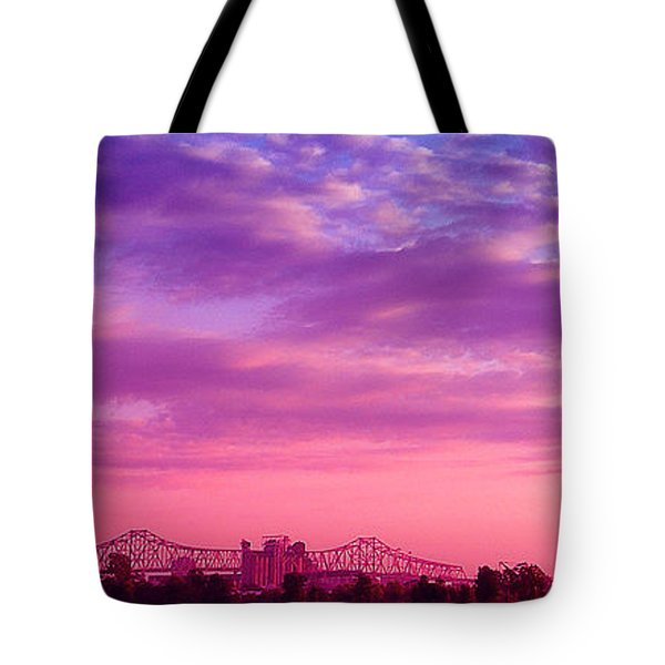 Mississippi River Bridge At Twilight Tote Bag