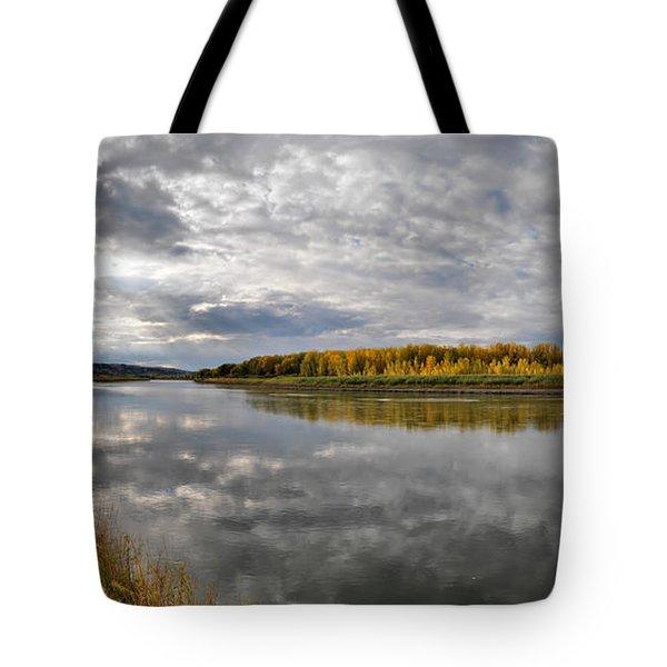 Missouri River Autumn Panoramic Tote Bag by Leland D Howard