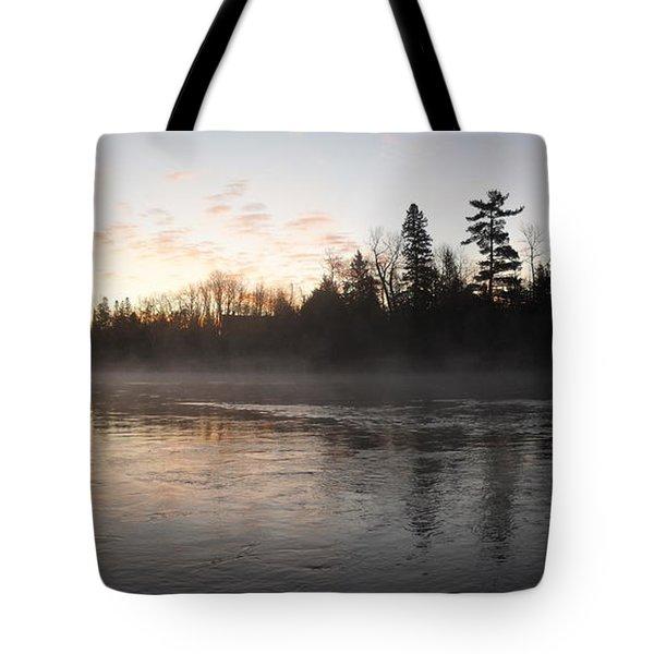 Mist Over The Mississippi Tote Bag