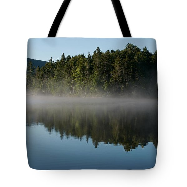 Mist Rises From The Lake On A Summer Tote Bag