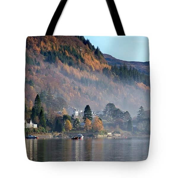 Tote Bag featuring the photograph Misty Autumn Morning by Lynn Bolt