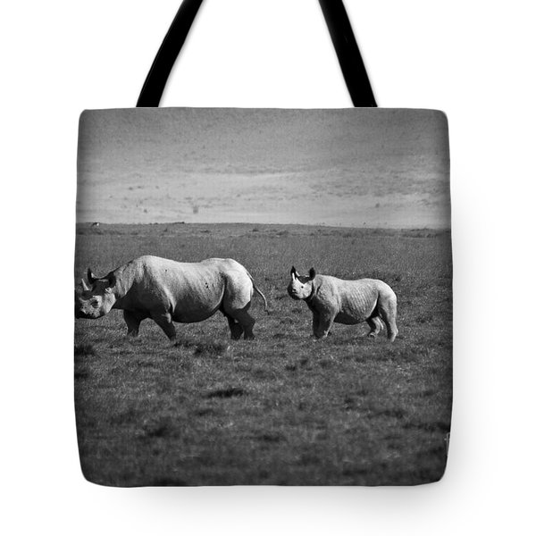 Mom And Child Black Rhinos Tote Bag by Darcy Michaelchuk
