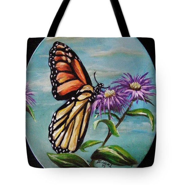 Tote Bag featuring the painting Monarch And Aster by Karen  Ferrand Carroll