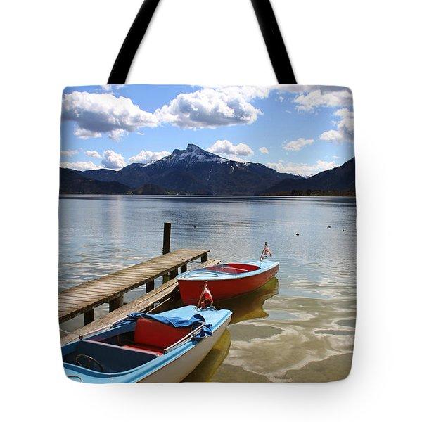 Mondsee Lake Boats Tote Bag by Lauri Novak
