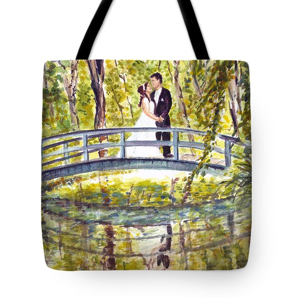 Tote Bag featuring the painting Monet Wedding by Clara Sue Beym