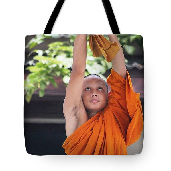 Tote Bag featuring the photograph Monk In The Bell Tower #2 by Nola Lee Kelsey