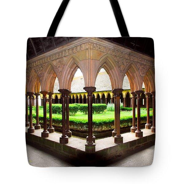 Mont Saint Michel Cloister Garden Tote Bag by Elena Elisseeva