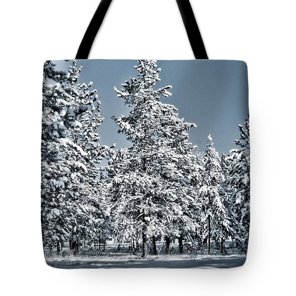 Tote Bag featuring the photograph Montana Christmas by Janie Johnson