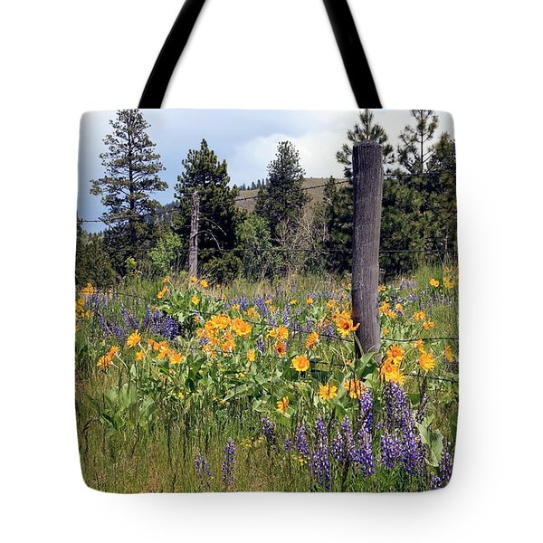 Tote Bag featuring the photograph Montana Wildflowers by Athena Mckinzie