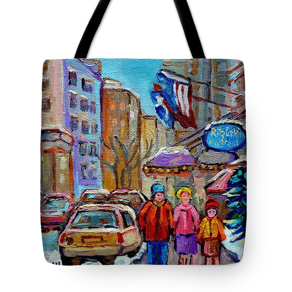 Montreal Street Scenes In Winter Tote Bag by Carole Spandau