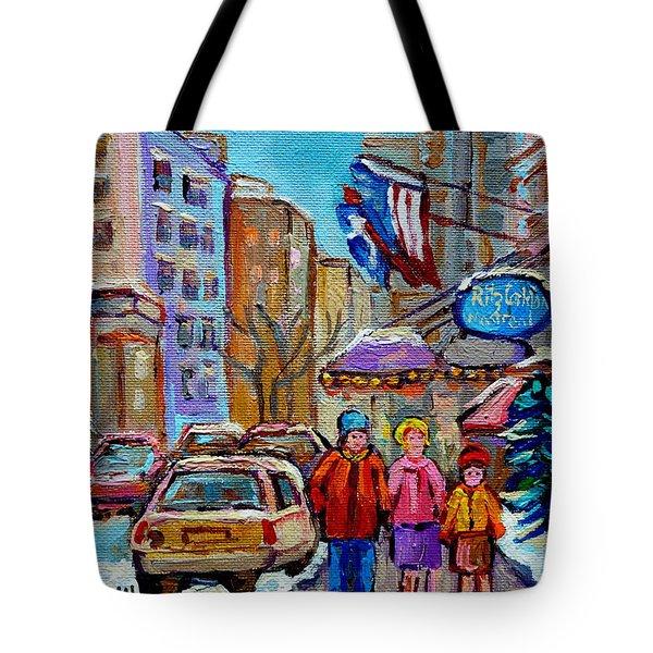Montreal Street Scenes In Winter Tote Bag by Carole Spandau