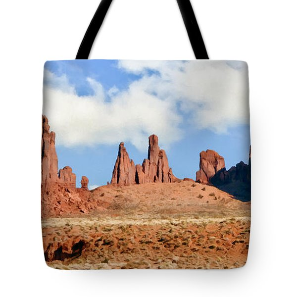 Monument Valley Totem Pole Tote Bag by Bob and Nadine Johnston