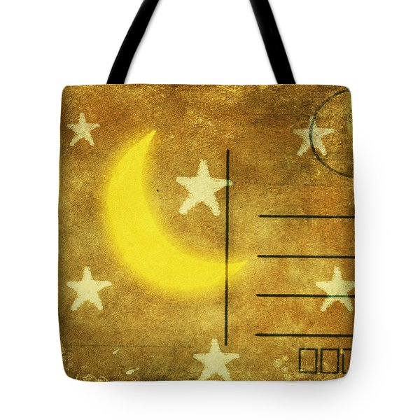 Moon And Star Postcard Tote Bag by Setsiri Silapasuwanchai