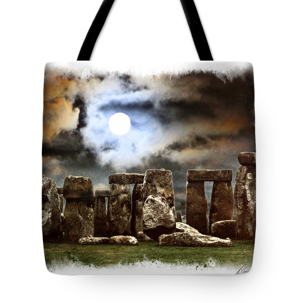 Moon Over Stonehenge Tote Bag