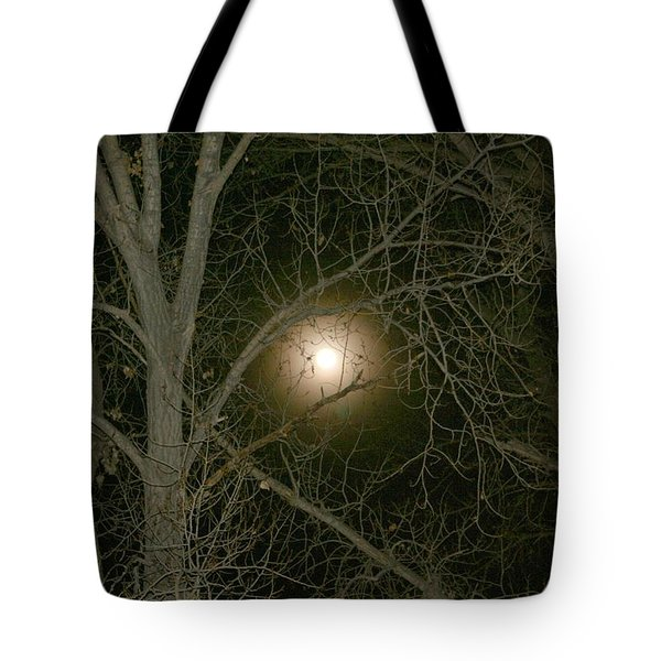 Tote Bag featuring the photograph Moon Through The Trees by Laurel Talabere
