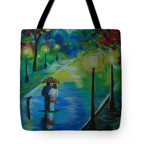 Tote Bag featuring the painting Moonlight Stroll Series 1 by Leslie Allen