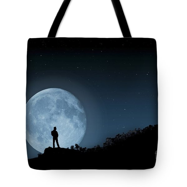 Tote Bag featuring the photograph Moonlit Solitude by Steve Purnell