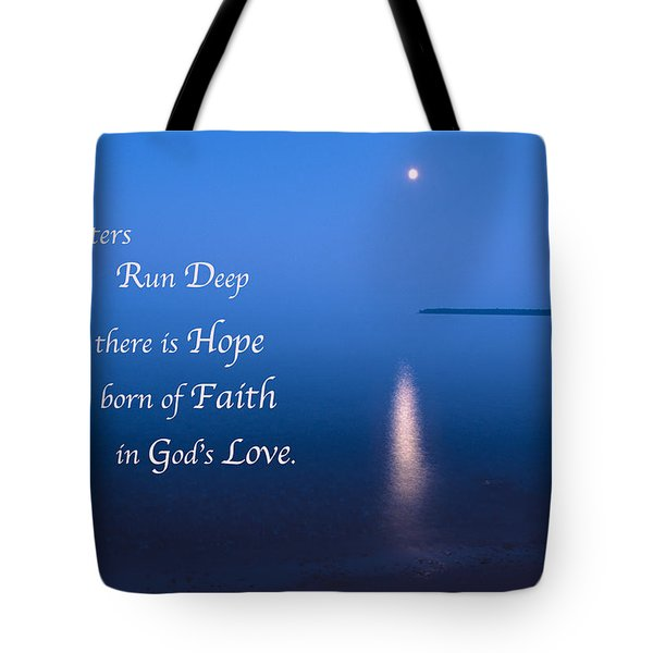 Moonrise On Lake Superior With Quote Tote Bag