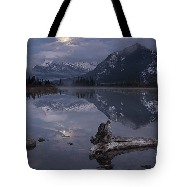 Tote Bag featuring the photograph Moonrise Over Banff by Keith Kapple