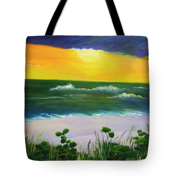 Tote Bag featuring the painting Morning On The Beach by Mary Kay Holladay