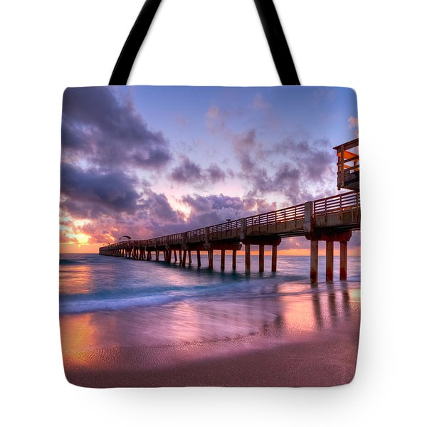 Morning Pier Tote Bag by Debra and Dave Vanderlaan