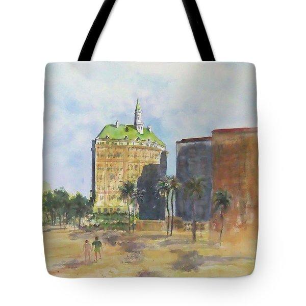 Morning Walk By The Villa Riviera Tote Bag