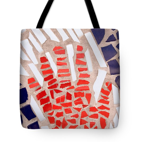Mosaic Red Hand Tote Bag by Carol Leigh