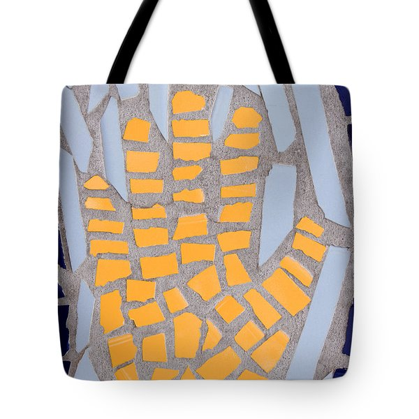 Mosaic Yellow Hand Tote Bag by Carol Leigh