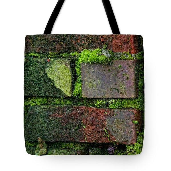 Tote Bag featuring the digital art Mossy Brick Wall by Carol Ailles