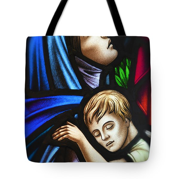 Tote Bag featuring the photograph Mother And Child Stained Glass by Verena Matthew
