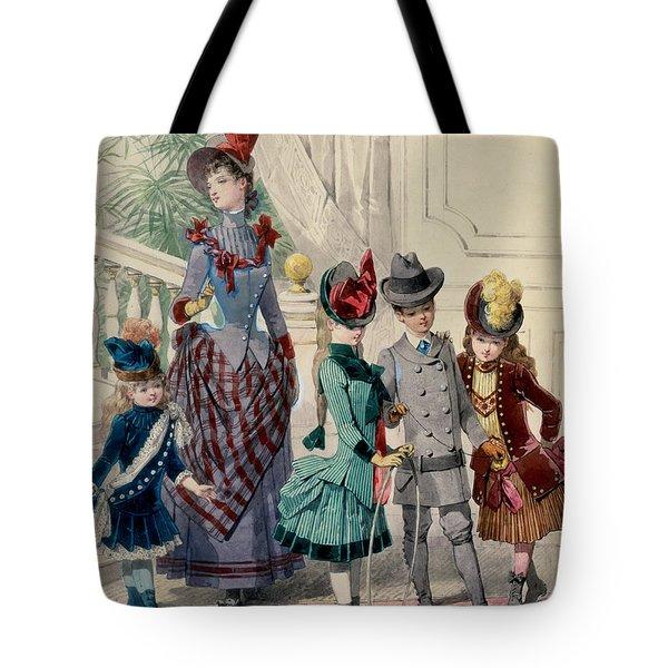 Mother And Children In Indoor Costume Tote Bag