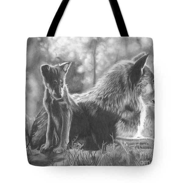 Mother And Pup Tote Bag