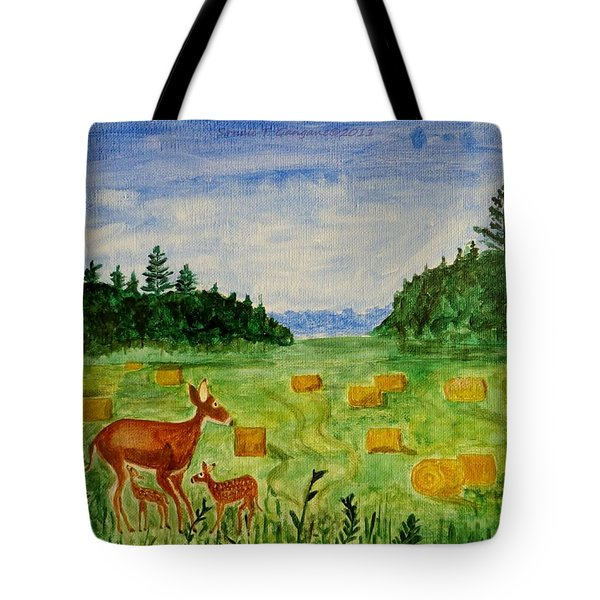 Tote Bag featuring the painting Mother Deer And Kids by Sonali Gangane