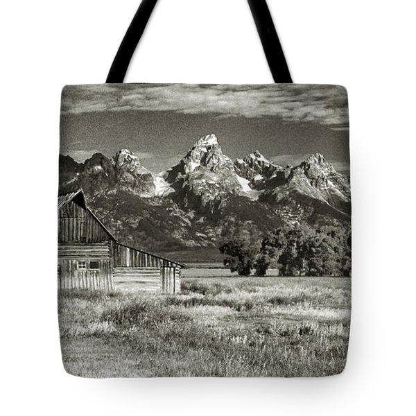 Moulton Barn And The Grand Tetons Tote Bag by Sandra Bronstein