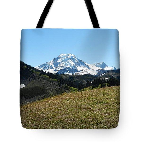 Tote Bag featuring the photograph Mount Baker From The Skyline Divide 2 by Karen Molenaar Terrell