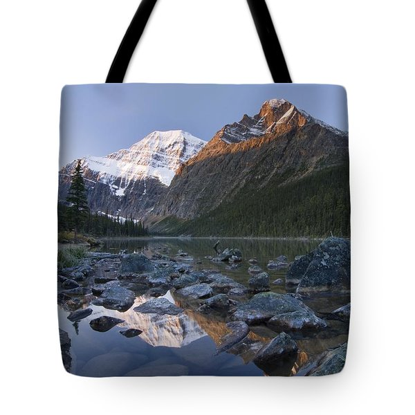 Mount Edith Cavell, Cavell Lake, Jasper Tote Bag by Philippe Widling