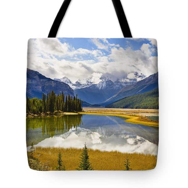 Mount Kitchener Reflected In Pond Tote Bag by Yves Marcoux