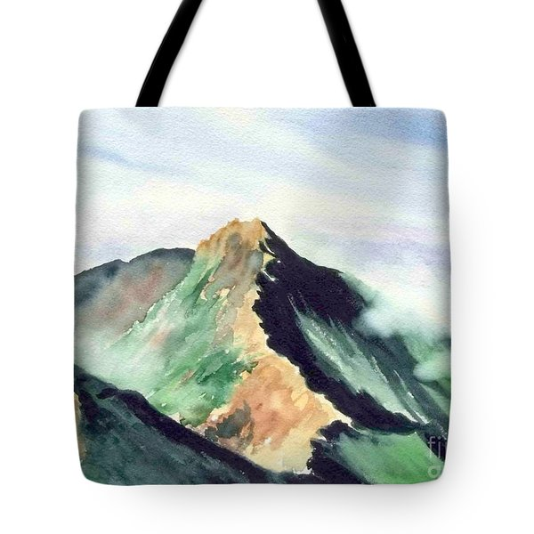 Tote Bag featuring the painting Mountain  1 by Yoshiko Mishina