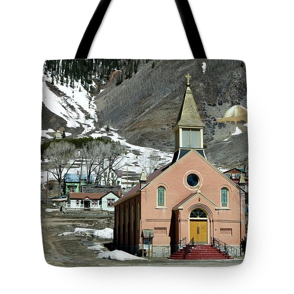 Tote Bag featuring the photograph Mountain Chapel With Red Steps by Lorraine Devon Wilke