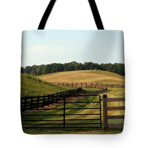 Mountain Farmland Tote Bag by Karen Harrison
