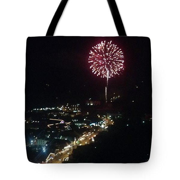 Mountain Fireworks Tote Bag by Janice Spivey